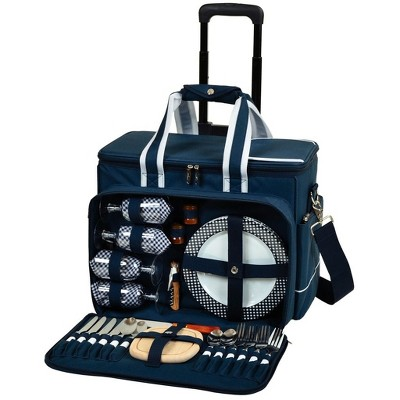 Picnic at Ascot- Ultimate Insulated Picnic Cooler on Wheels with Service for 4 - Navy