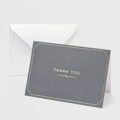 """50ct """"Thank You"""" Gray with Foil Border Card"""