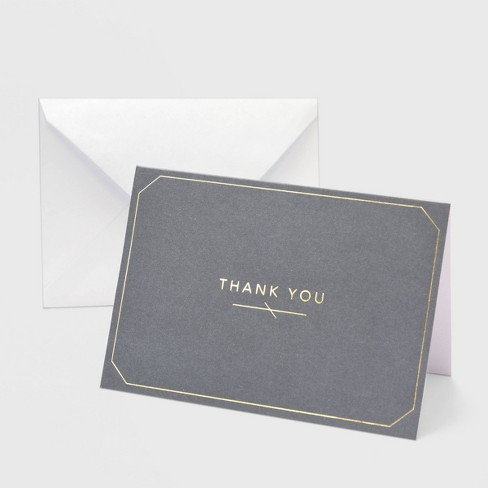"""50ct """"Thank You"""" Gray with Foil Border Card - image 1 of 3"""