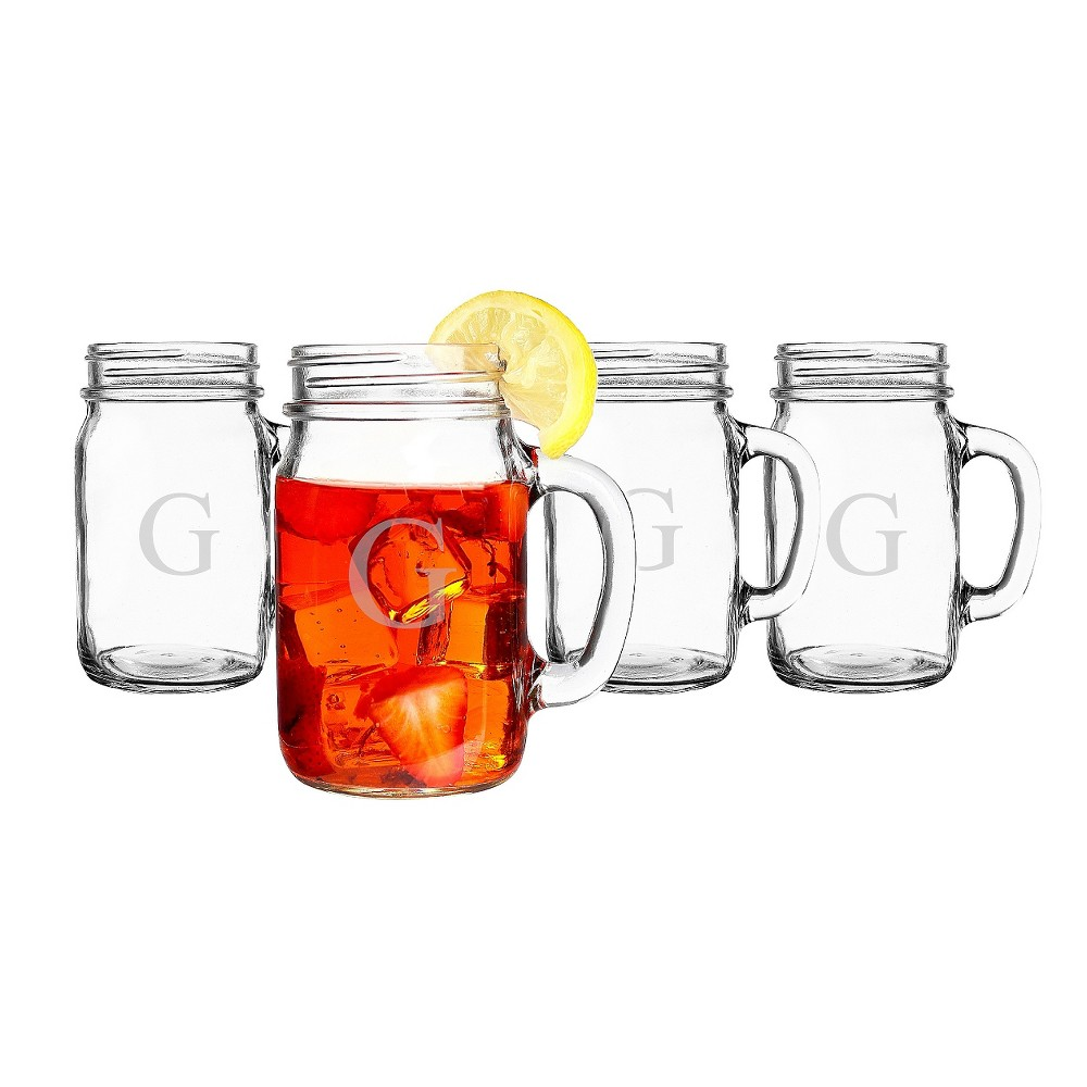 Cathy's Concepts 16oz 4pk Monogram Old-Fashioned Drinking Jars G, Clear