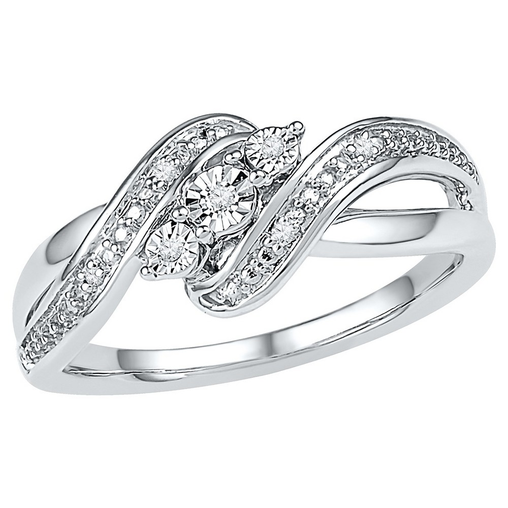 Diamond Accent Prong/Miracle Set Three Stone Fashion Ring in Sterling Silver (IJ-I2-I3) (Size 4.5), Women's, White