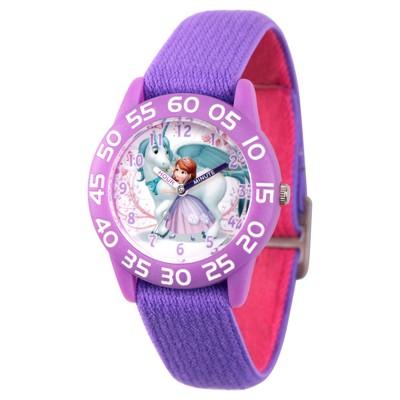 Girls' Disney Sofia the First Purple Time Teacher Watch- Purpe