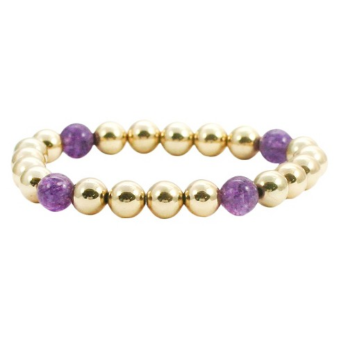 Women's Zirconite 4mm Round Gold Precious Beads Stretch Bracelet - image 1 of 1