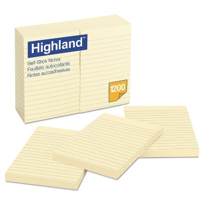 Highland Self-Stick Notes 4 x 6 Yellow 100-Sheet 6609YW