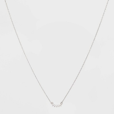Sterling Silver with Cubic Zirconia Curved Bar Station Necklace - A New Day™ Silver
