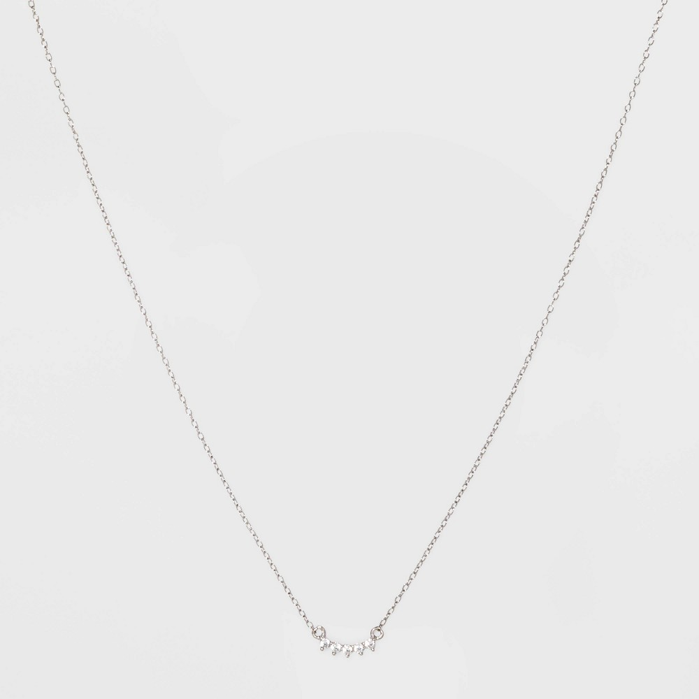 Sterling Silver with Cubic Zirconia Curved Bar Station Necklace - A New Day Silver