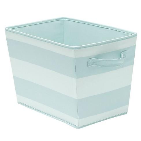 Large Striped Fabric Toy Storage Bin Aqua - Pillowfort™ - image 1 of 1