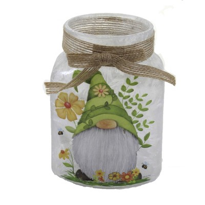 """Stony Creek 4.25"""" Gnomes In Flowers Pre Lit Jar Bow Ladybug Bees  -  Novelty Sculpture Lights"""