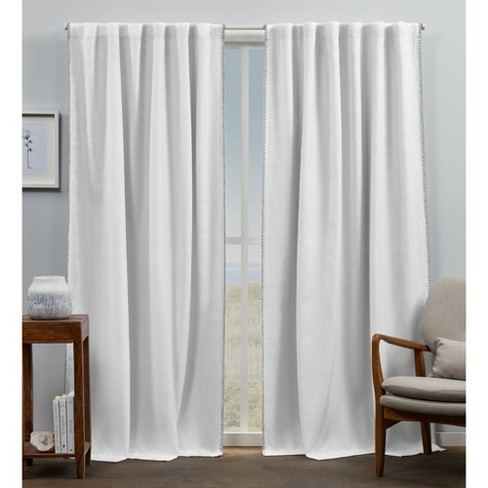 Hidden Tab Top Curtain Panel White Gray