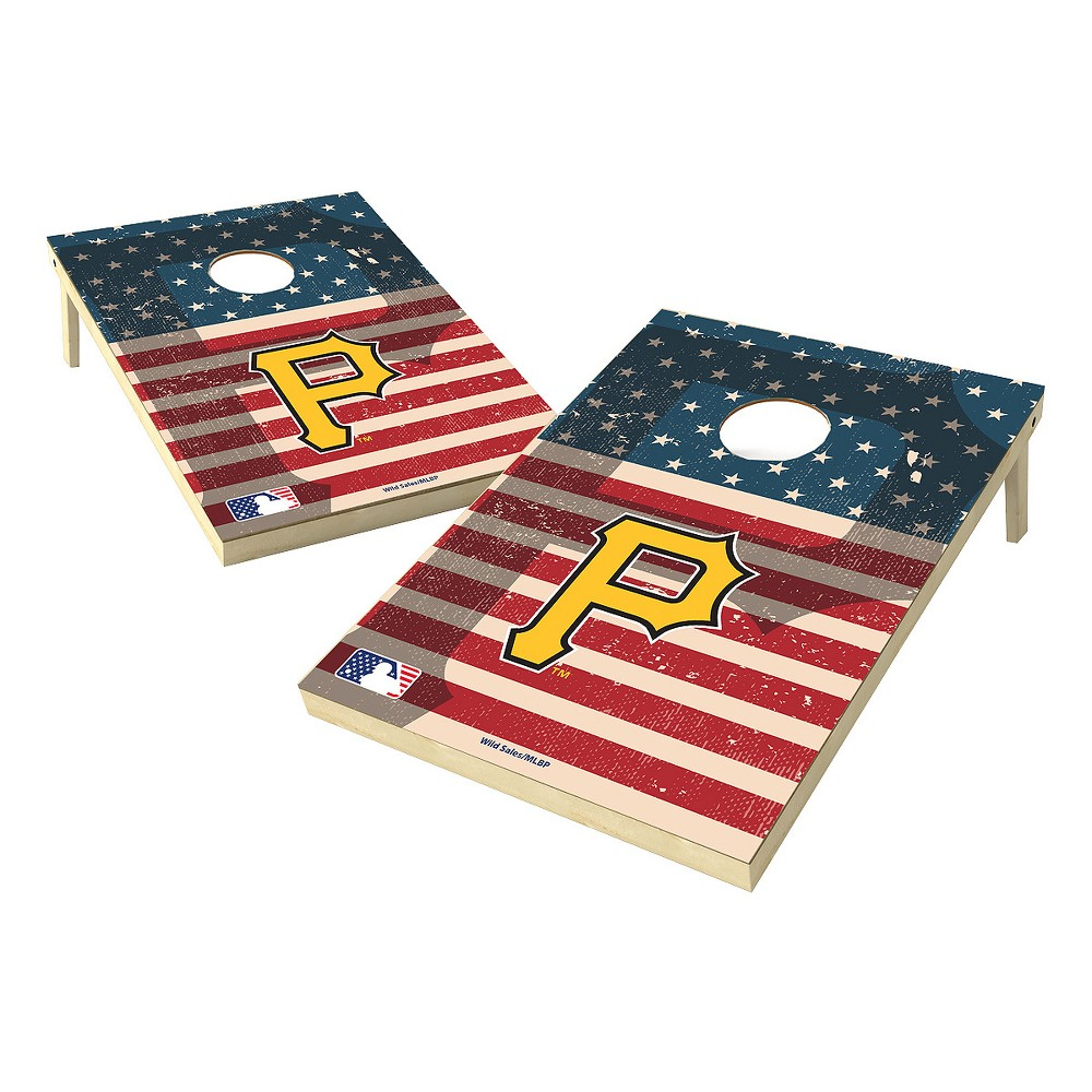 MLB Wild Sports Pittsburgh Pirates 2x3 Tailgate Toss Cornhole Shield - Stars and Stripes