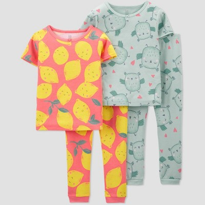 Baby Girls' 4pc South Lemon/Owl Pajama Set - Just One You® made by carter's Pink/Yellow/Green