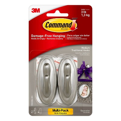 Command Medium Sized Traditional Hooks (2 Hooks 4 Strips)Brushed Nickel