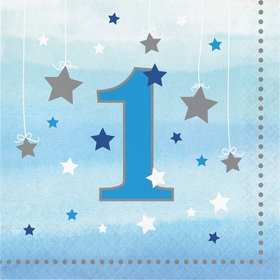 48ct One Little Star Boy 1st Birthday Napkins Blue