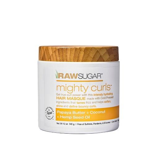 Raw Sugar Hair Masque Mighty CurlsPapaya Butter + Coconut Oil + Hemp Seed Oil - 12oz - image 1 of 3