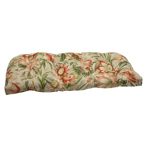 Pillow Perfect Botanical Glow Outdoor Wicker Loveseat Cushion Tan