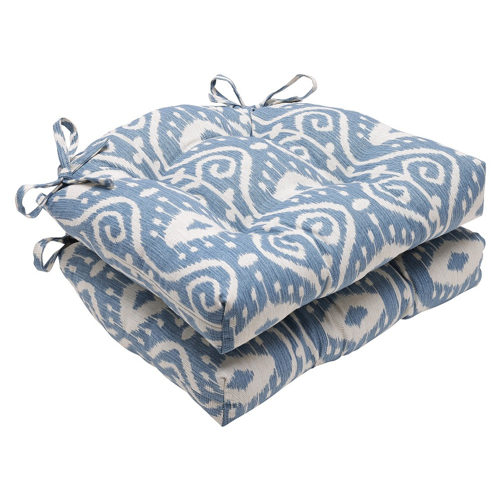 """Image of """"Blue Empire Yacht Reversible Chair Pad (Set Of 2) (16""""""""X15.5"""""""") - Pillow Perfect"""""""