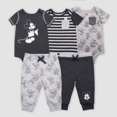 Baby Girls' Disney Mickey Mouse 5pc Bodysuit and Lounge Pants Set - Gray/Black 0-3M