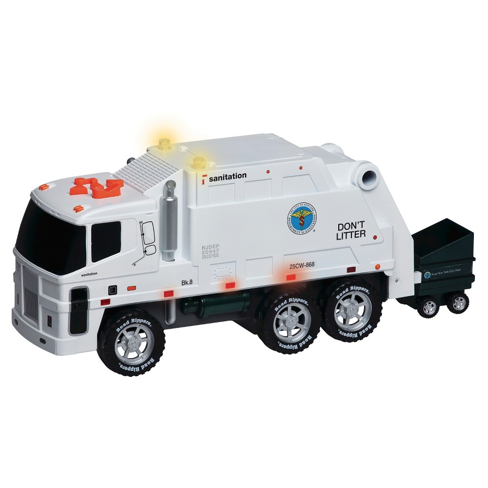Daron New York Operating Garbage Truck with Dumpster, Lights & Music This Nyc garbage truck features red lights, sounds, and motorized trash-collecting action. Batteries are included. Garbage Truck is 16.5 long. Motorized with forward and reverse. Dumpster goes up and down and it sings a song. Lights and sounds. Gender: Unisex.