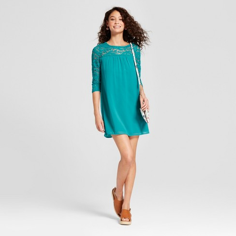 Women's 3/4 Sleeve Lace Yoke Dress - Lily Star (Juniors') - image 1 of 2