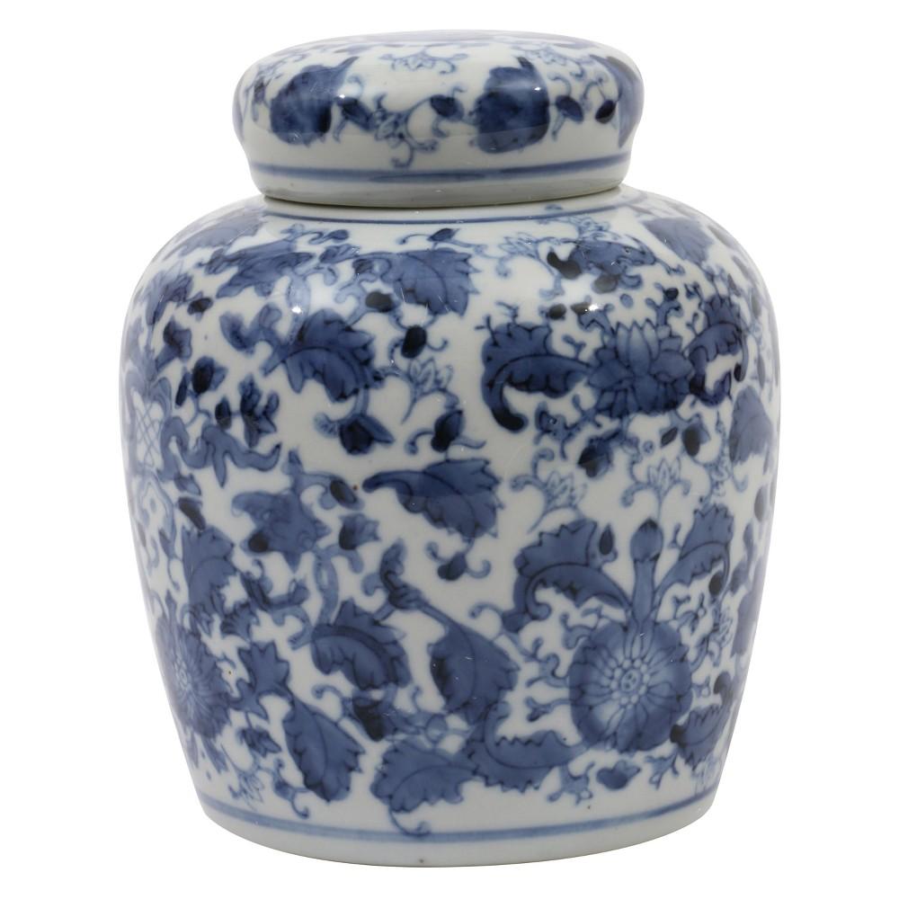"Image of ""Decorative Ceramic Ginger Jar (6.5"""") - Blue/White - 3R Studios"""