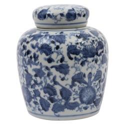"Decorative Ceramic Ginger Jar (6.5"") - Blue/White - 3R Studios"