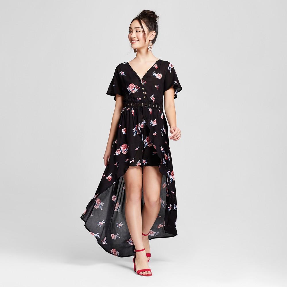 Women's Floral Print Short Sleeve Walk-Through Romper - Xhilaration Black L