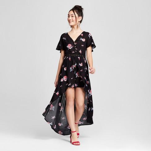 80307789237 Women s Floral Print Short Sleeve Walk-Through Romper - Xhilaration™ Black