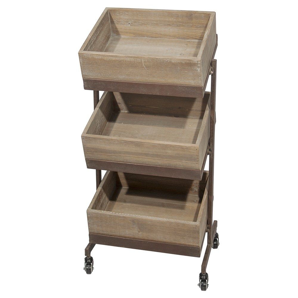 Tiered Rolling Decorative Tray - Vip Home & Garden, Brown