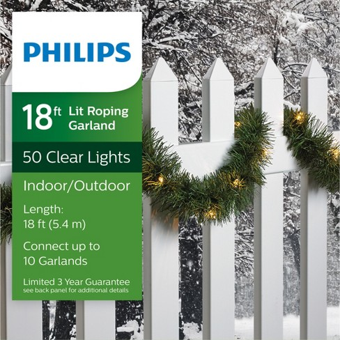 Philips 18 Christmas Prelit Clear Artificial Garland Target