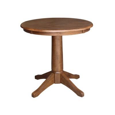 Laughlin Round Top Pedestal Distressed Oak - International Concepts