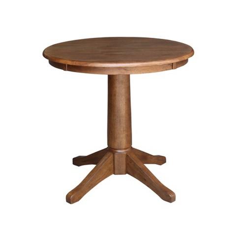 Laughlin Round Top Pedestal Distressed Oak - International Concepts - image 1 of 4