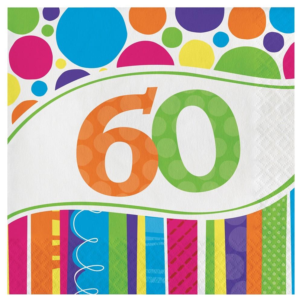18ct Bright And Bold 60th Birthday Napkins