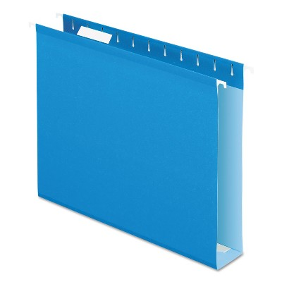 "Pendaflex Reinforced 2"" Extra Capacity Hanging Folders 1/5 Tab Letter Blue 25/Box 4152X2BLU"