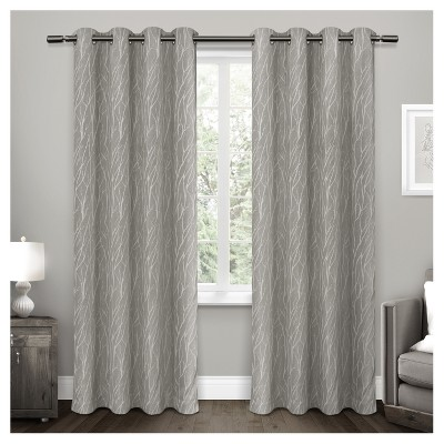 """Set of 2 84""""x54"""" Forest Hill Woven Room Darkening Grommet Top Window Curtain Panel Gray - Exclusive Home"""