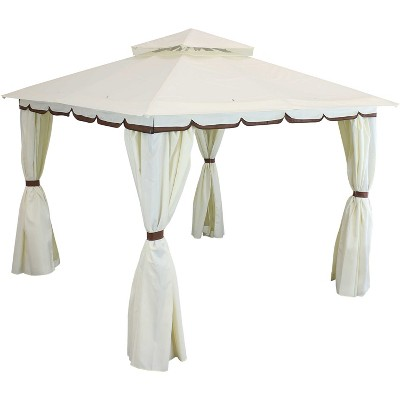 Soft Top 10' x 10' Steel Patio Gazebo with Screens and Privacy Walls - Sunnydaze Decor