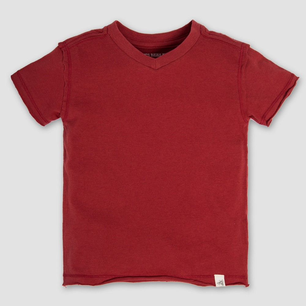 Burt's Bees Baby Boys' Short sleeve Organic Cotton Solid High V-Neck T-Shirt - Red 24M