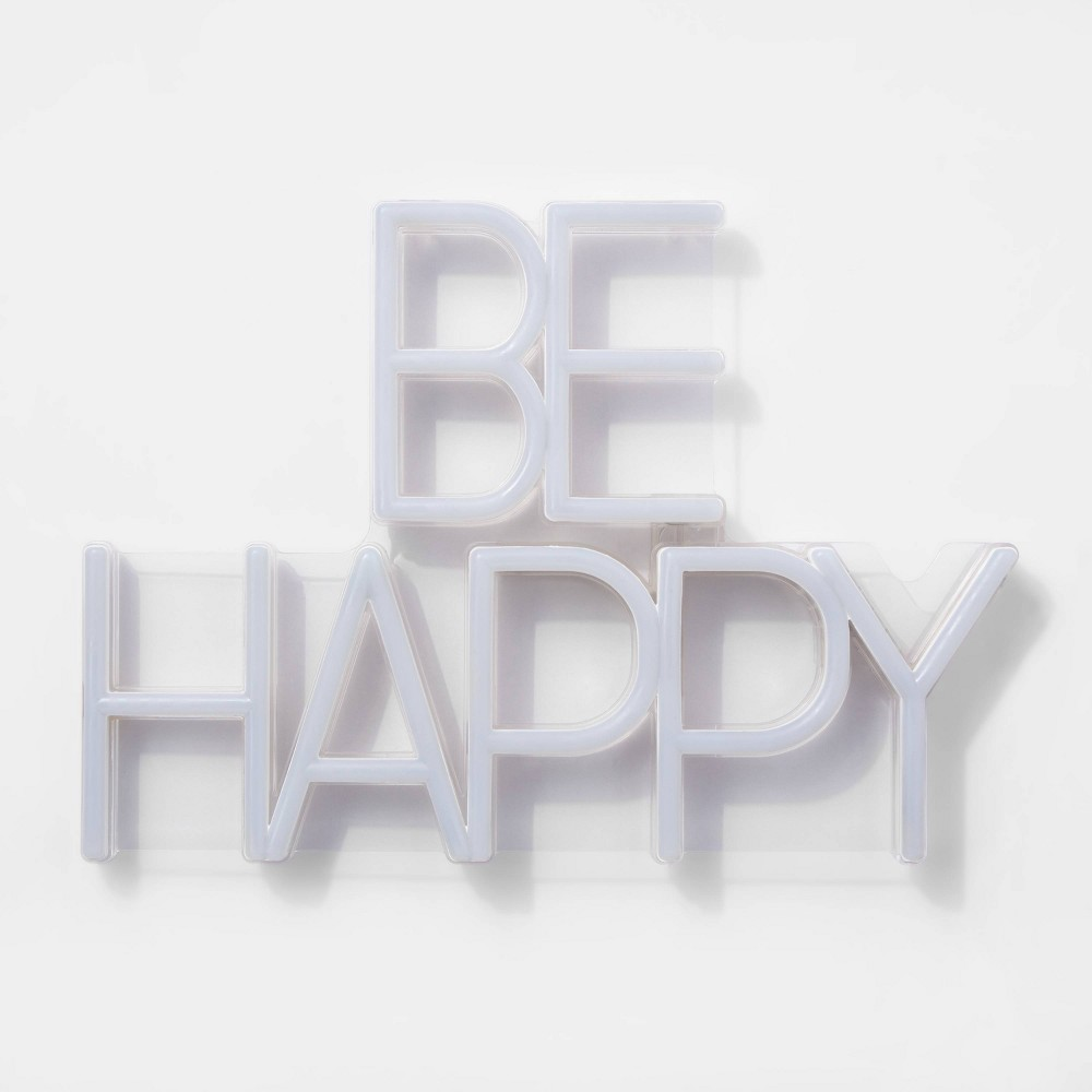 Image of Be Happy LED Neon Wall Sign White - Room Essentials