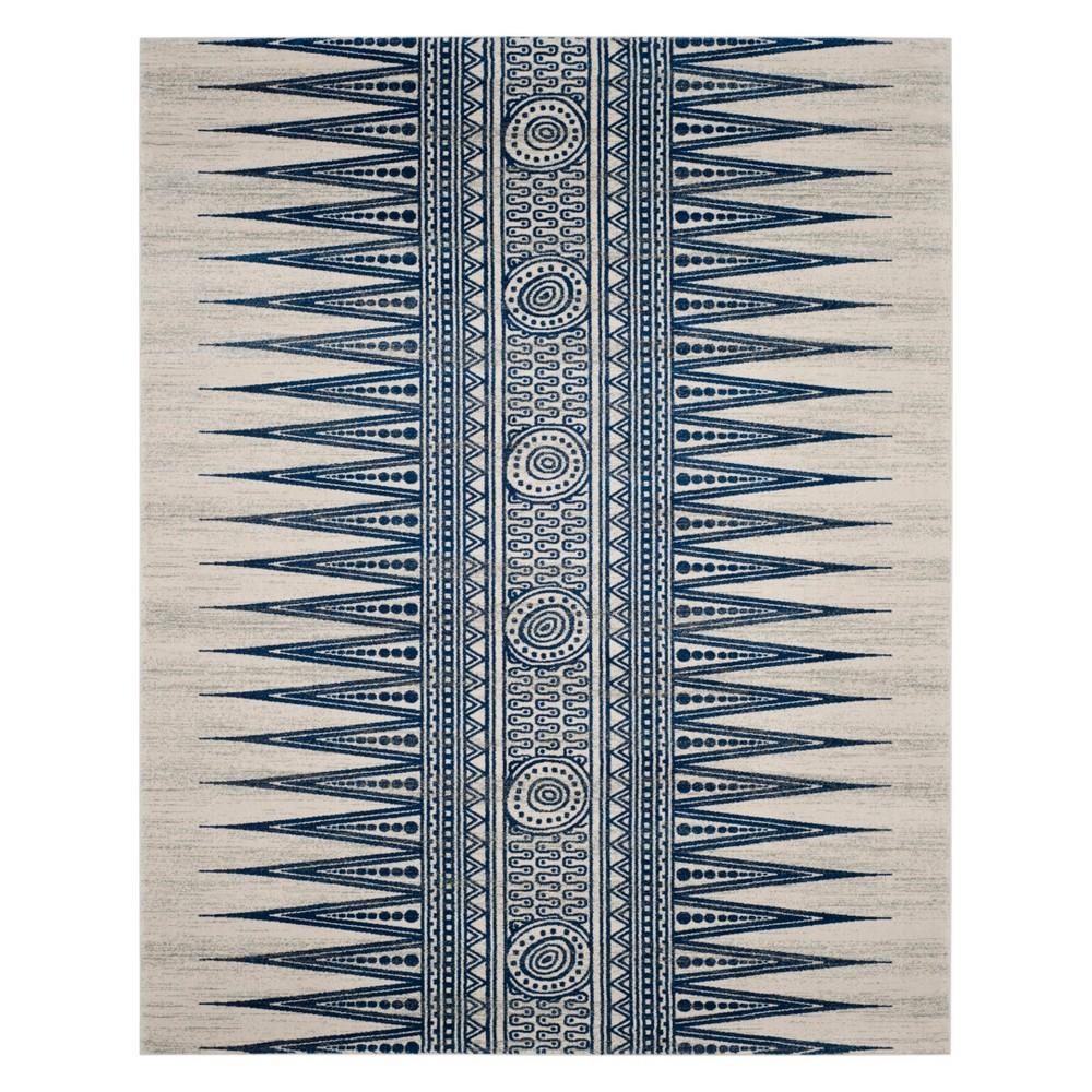 9'X12' Tribal Design Loomed Area Rug Ivory/Blue - Safavieh