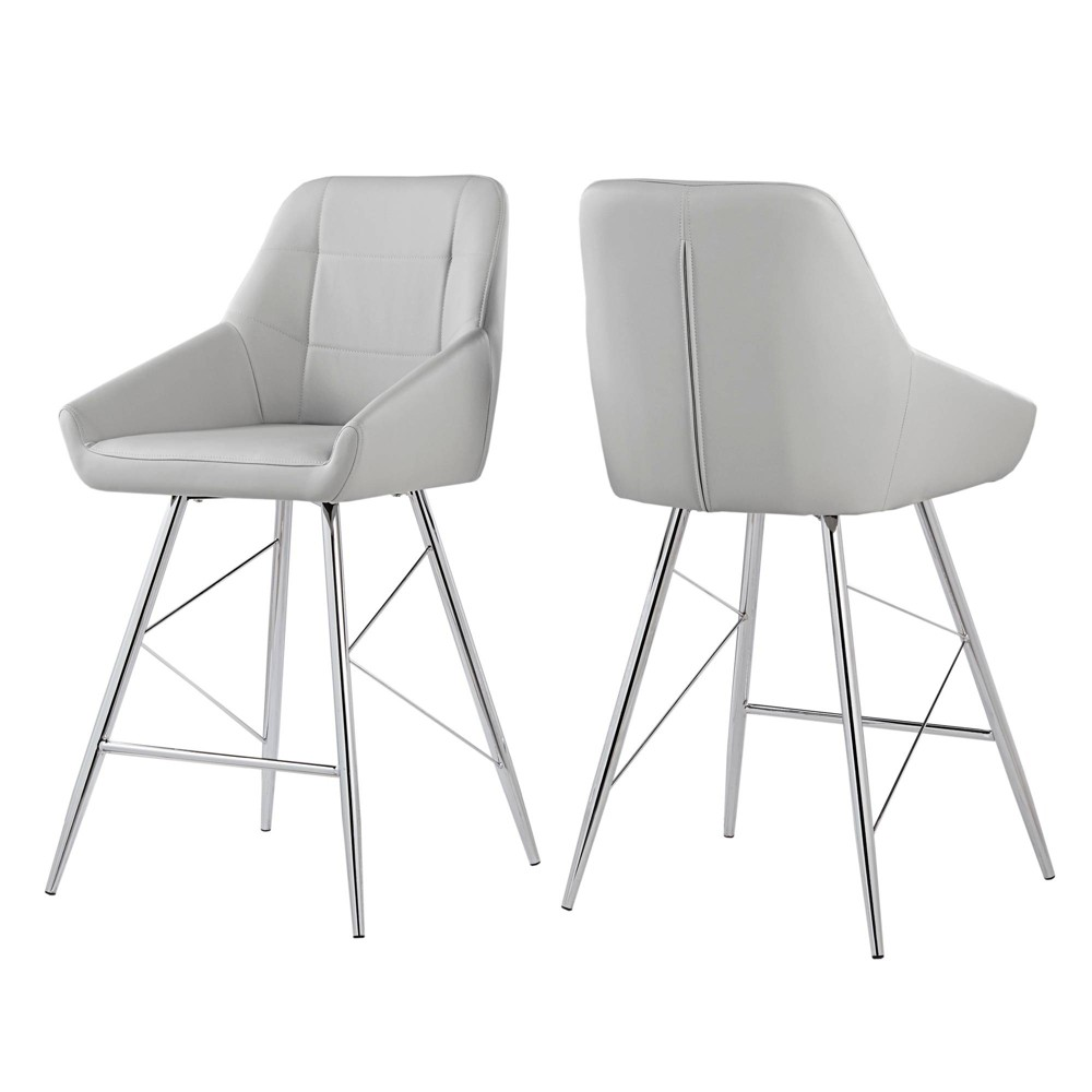 24 Set of 2 Alana Chrome Finish Counter Stool Geometric Faux Leather Gray - Inspire Q