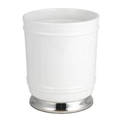 Isabella Wastebasket White/Chrome - Popular Bath