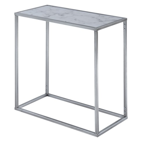 Gold Coast Faux Marble Chairside Table Faux Marble/Silver - Johar - image 1 of 6