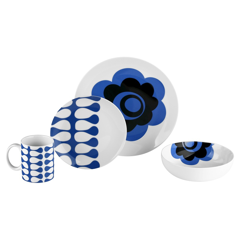 Image of Bzyoo Coppa 16pc Dinnerware Set Blue Flower Vine
