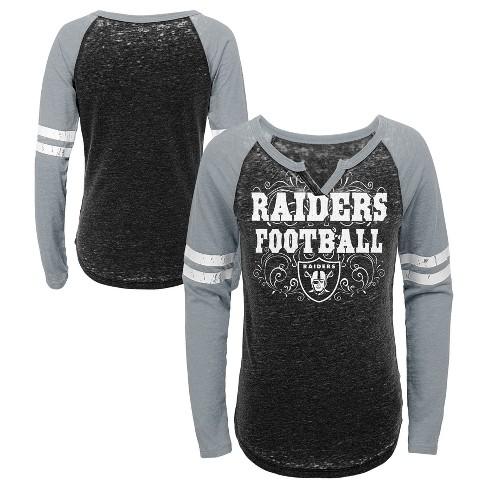 NFL Oakland Raiders Girls  Fashion Team Alt Color Burnout Long Sleeve T- Shirt 43e87b270