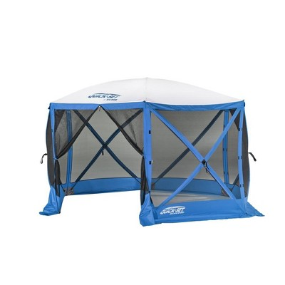 CLAM Quick-Set Escape Sport 11.5 x 11.5 Foot Portable Pop Up Outdoor Tailgating Screen Tent 6 Sided Canopy Shelter w/ Stakes & Carry Bag, Blue