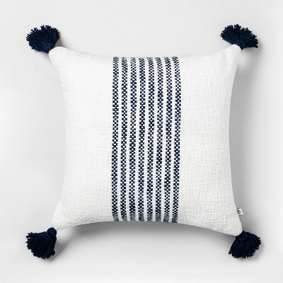 18x18 Center Stripes Throw Pillow Navy - Hearth & Hand™ with Magnolia