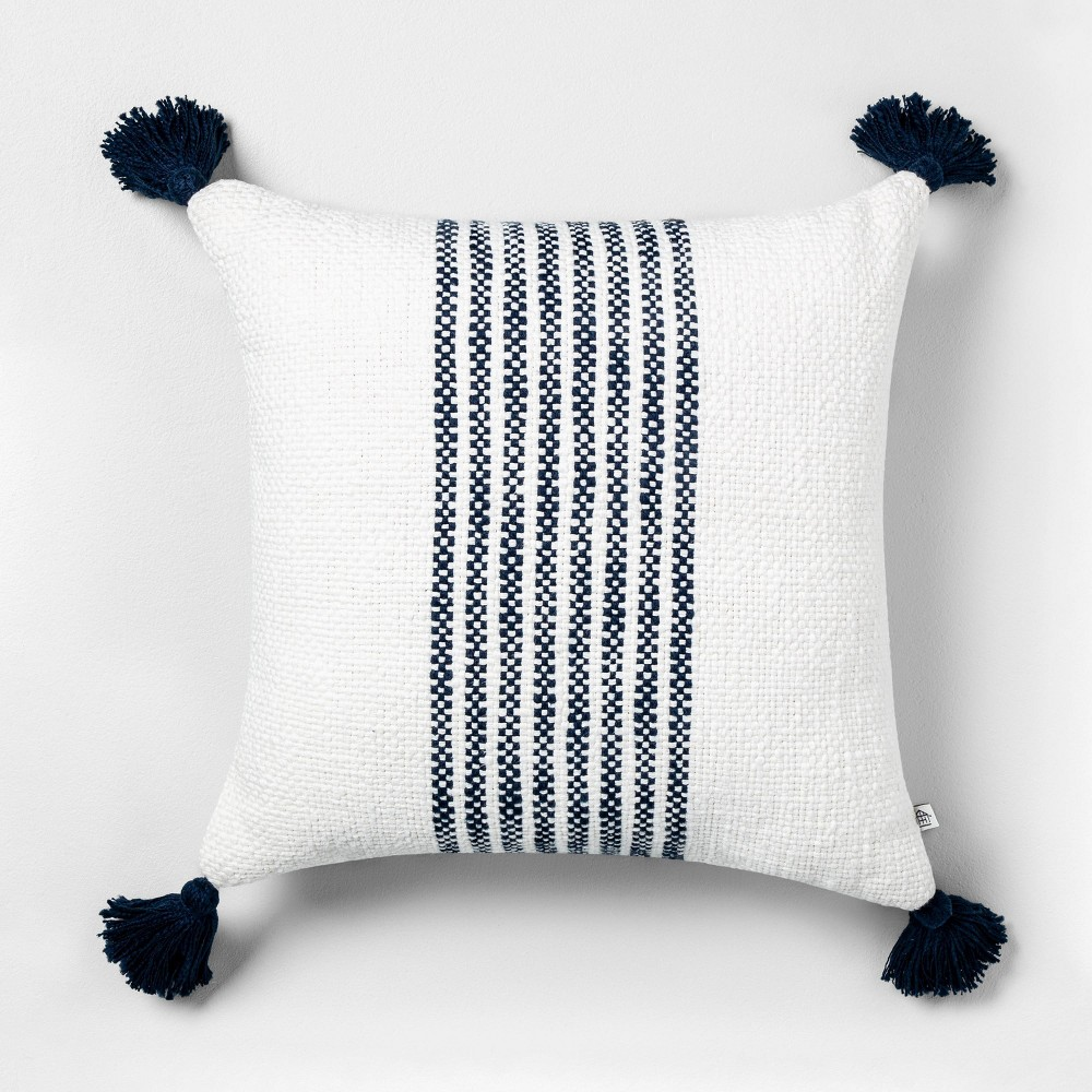 """Image of """"18"""""""" x 18"""""""" Center Stripes Throw Pillow Navy - Hearth & Hand with Magnolia"""""""