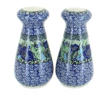 Blue Rose Polish Pottery Sapphire Fields Large Salt & Pepper Shakers