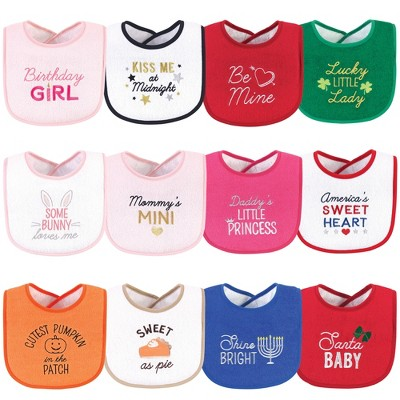 Hudson Baby Infant Girl Cotton Terry Drooler Bibs with Fiber Filling 12pk, Cute Girl Holiday Sayings, One Size
