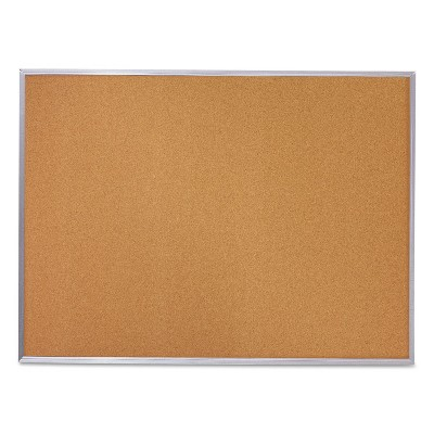 Mead Cork Bulletin Board 36 x 24 Silver Aluminum Frame 85361