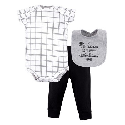 Little Treasure Baby Boy Bodysuit, Pant and Bib, Well Dressed